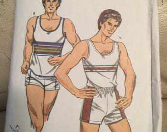 Kwik Sew 1240, Mens tank top and shorts size 42, 44, 46, 48