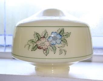 Vintage Light Fixture Globe Shade Floral Decor