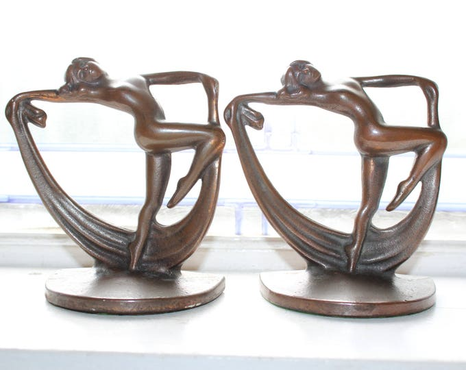 Art Deco Bronze Bookends Nude Women Scarf Dance Vintage 1920s