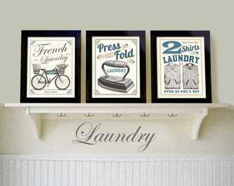 Laundry Room Decor, Set 3 Prints, French Country Home, Bicycle Art, Mudroom, Old Iron, Wall Art Grouping, French Laundry, Bathroom Art,