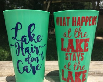Personalized Party Cups / Bachelorette Party Cups / Girls Weekend / Lake / Personalized Plastic Tumblers / Lake Hair Don't Care /