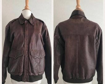 ON SALE Mens Vintage Brown Leather Bomber Jacket size Small