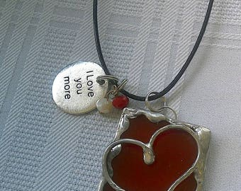 Handmade Red Stained Glass Necklace I Love You More Necklace