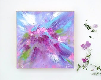 "Purple painting, abstract Acrylic art Painting, purple decor, original on canvas, pretty art, flower essence, 10x10"" canvas"
