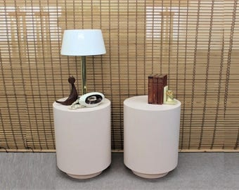 Mid Century Modern pink laminate round end tables