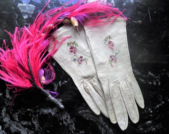 Antique Ladies French Kid Leather Gloves With Pink Embrodered Flowers.  Marked PARIS, Movie Prop, Display