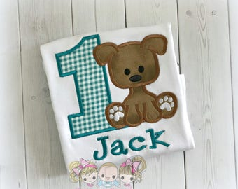 Boys puppy birthday shirt - 1st birthday shirt - teal gingham puppy - dog birthday shirt - puppy birthday theme - boys personalized shirt