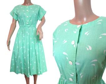 Vintage 80s Dress // Vintage Day Dress // Mint Green Dress //   50's style dress  // Small Vintage Dress
