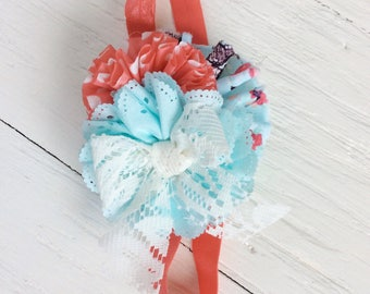 Coral aqua headband baby girl headband toddler headband persnickety m2m headband matilda jane headband shabby chic headband newborn