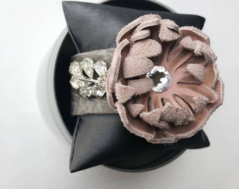 Leather cuff with vintage earrings