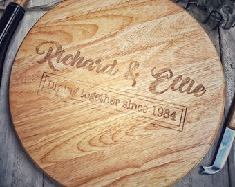 round wooden lazy susan ideal for serving platter cheeseboard engraved with