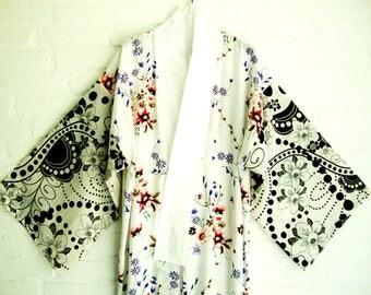 Cotton Kimono Style Robe  White Elegant Long Flowers Black and white