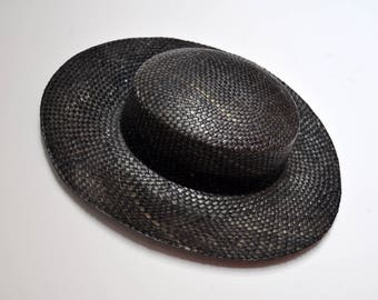 Vintage Charcoal Straw Hat