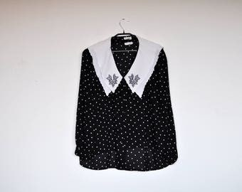 Vintage Oversized Black and White Polka Dot Semi Sheer Sailor Collar Blouse