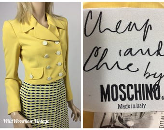 Vintage Moschino Cheap and Chic Bright Yellow Double Breasted Cropped Blazer - Designer Vintage - Late 1990's - Euro 34