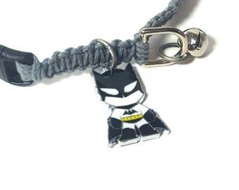 Batman Pet Collar, Hemp Pet Collar, Cat, Small Dog, Kitten, Super Hero Charm Pendant, Adjustable, Boho Pet Collar, Black, Gray