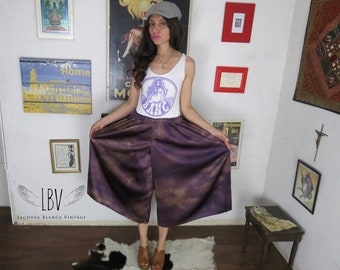 Marbled Purple Elastic Waist & Perfectly Pleated Culottes