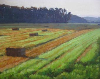 Original oil landscape painting oil painting countryside art wall art 'Bales' plein air impressionism painting landscape art by H Irvine