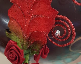 Brilliant Scarlet Red fascinator with leaves roses and bling very Whimsical for the holidays