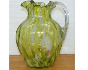 Victorian Antique PITCHER Green White hint of pink Spatter Art Glass Reeded handle Ruffled