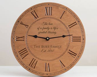 Personalized Family Wood Clock: Custom Wood Clock, Engraved Wood Clock, Personalized Family Gift, Custom Family Clock, Unique Family Gift