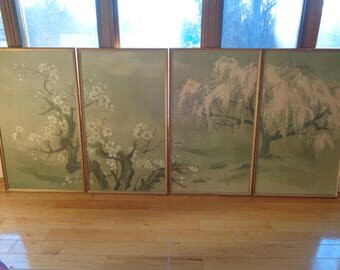 Chic Chinoiserie 4 Panel Asian Landscape Mural, 4 Large Lithographic Poster Sized Prints in an elegant, understated, muted color palette