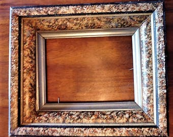 Antique picture frame with glass, 1920s wooden frame, old frame, glass front frame, early 20th century, photo frame