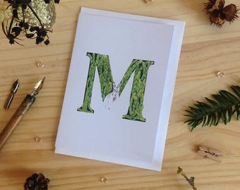 Forest Letter M Card - Initial Card
