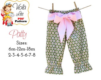Patty Toddler Pants Pattern pdf, Girls Capris Pattern, Girl's Sewing Pattern, Ruffle Pants, Toddler Sewing Pattern, Girl's Pants Pattern