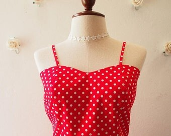 Mid Year SALE Crop Top and Skirt Set Red with White Polka Dot La La Land Style Red Summer Matching Red Crop Top and skirt Set Retro Vintage
