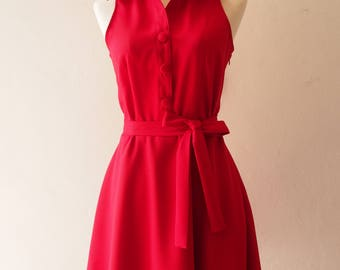 DOWNTOWN - Scarlet Red Dress Red Swing Dance Dress La La Land Red Sundress Vintage Modern Red Bridesmaid Dress Casual Summer Dress