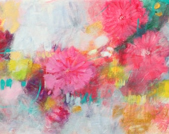"""Vibrant Abstract Floral, Colorful Intuitive Art, Original Painting """"My Garden is a Tangle"""" 12x24"""""""