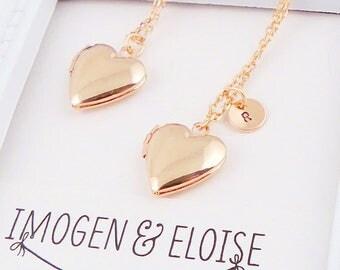 Rose Gold Heart Locket, Personalized Locket, Initial Locket Necklace, Rose Gold Love Heart Locket, Rose Gold Locket, Bridesmaid Locket