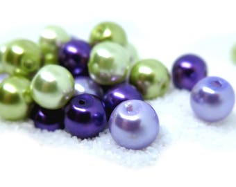 40 Pcs - Shades of Grape Assorted Color Glass Pearl Beads - 8mm in diameter, hole: 1.5mm
