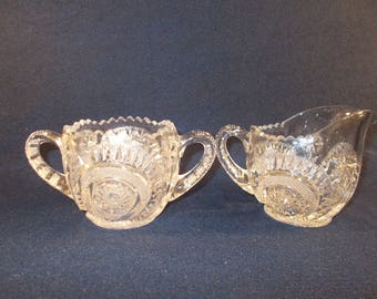 EAPG Sugar Bowl and Creamer Set