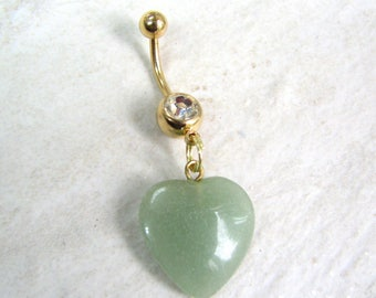 Jade Heart Belly Button Jewelry, Gold Titanium Belly Button RIng, Semi Precious Stone Belly Ring, Green Gemstone Jewelry
