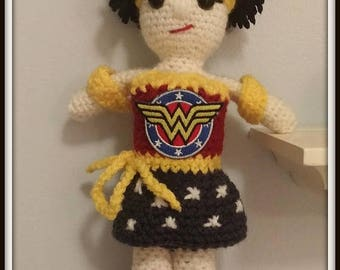 On Sale Wonder Woman Doll Handmade Personalized Custom Made Approximately 10 inches tall
