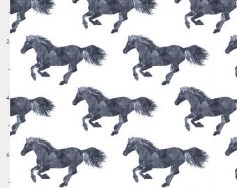 Horse Fabric Watercolour Pony Stampede Equestrian Cotton Fabric by the yard/ Organic Cotton available| Ships from USA, Free Ship Worldwide