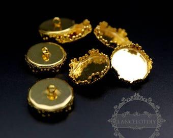 20pcs 15mm gold color round crown bezel settings button 1501029