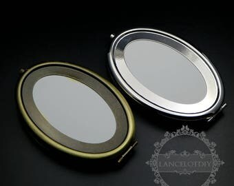 1set 65x95mm setting metal oval blank base bezel vintage style bronze,silver compact pocket mirror tray glass cabochon 1502061