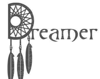 SVG - Dreamer - Dream Catcher svg - tshirt svg - tumbler decal svg - iron on svg - native american art - dreamcatcher -