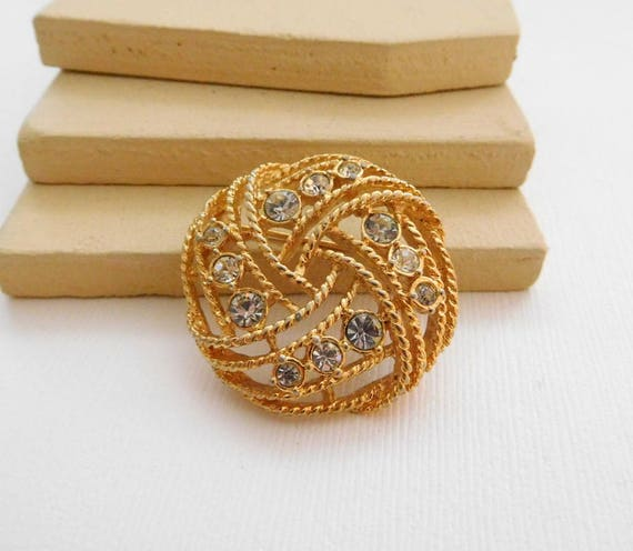 Vintage Clear Rhinestone Gold Tone Rope Woven Infinity Knot Brooch Pin UU15