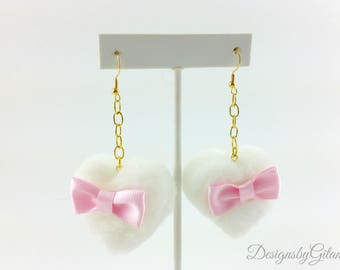 Cute Pom Pom Heart Earrings-Lolita-Fairy Kei-Harajuku-hime-Earrings-Fuzzy Earrings-Gift For Her-Christmas Gift-Pastel Earrings