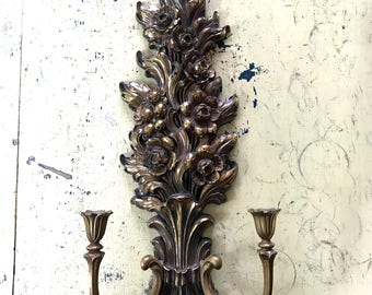 Vintage HUGE Statement Piece Ornate Narrow Italian Florentine Style Syroco Hollywood Regency Gold Gilt Candle Sconce with 2 candle holders