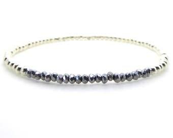 Silver Bangle Beaded Gemstone Bracelet/Haematite Stacking Stretch Bangle/Bridesmaids/Sister/Friend Gift//LR039B