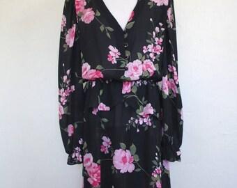 Clearance Sale Vintage Sheer Floral Print Peplum Midi Dress