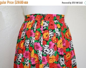 Clearance Sale Vintage Bright Floral Pleated Skirt