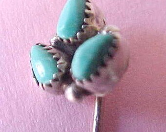 Lovely Vintage Sterling Silver Native American Stickpin with Turquoise