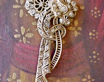 Very Old and Pretty Art Deco Era Floral Brooch with Paste Stones