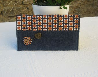 Checkbook vintage style and denim and floral cotton
